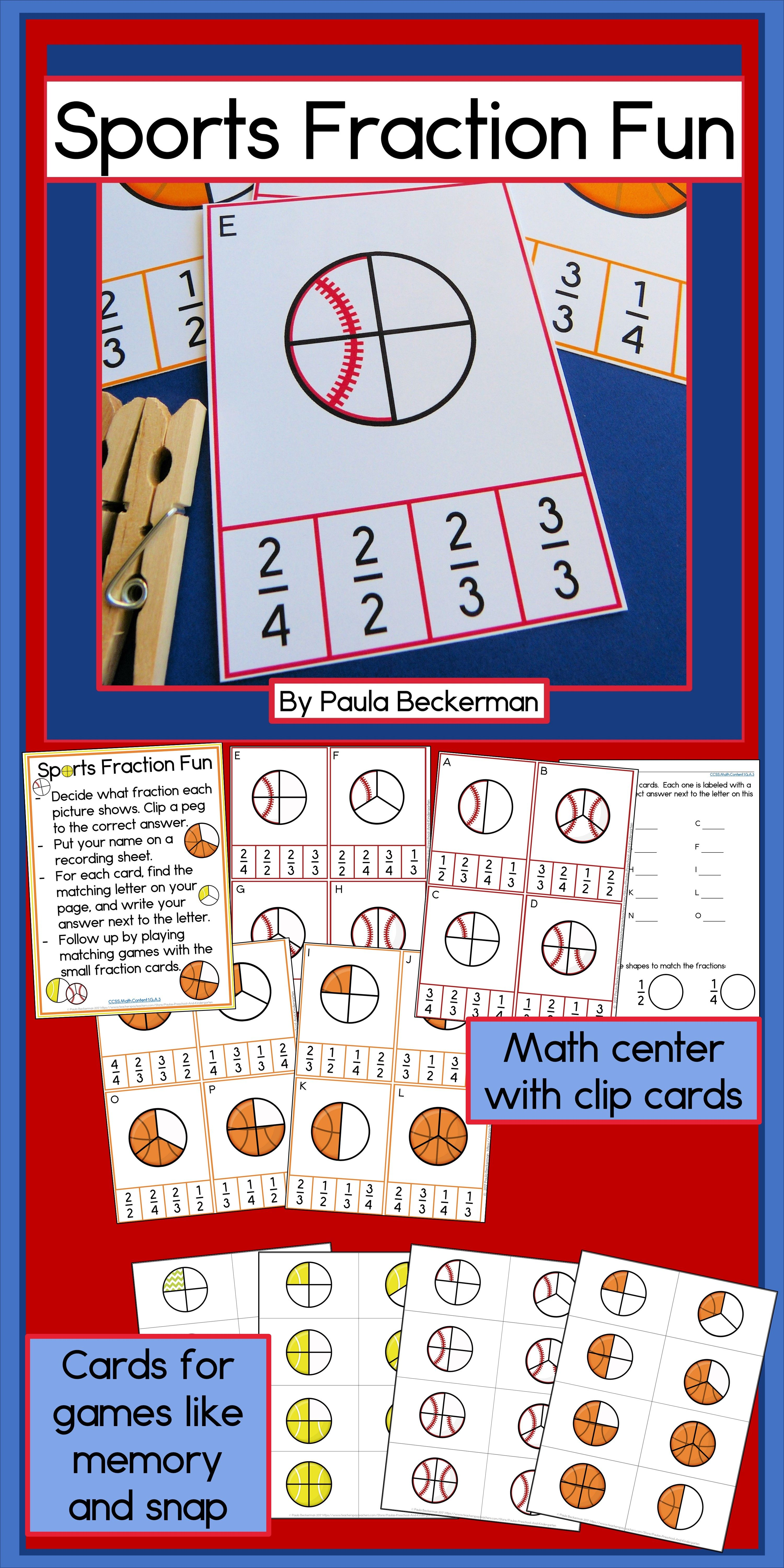 Sports Fraction Task Cards Fun math games, Fractions, Math