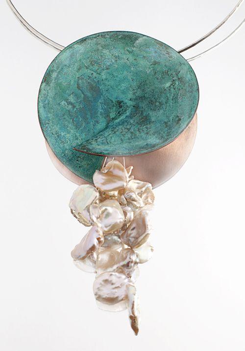 Francesca Gabrielli  Neckpiece: Harvest moon  Patinated copper, silver, pearls