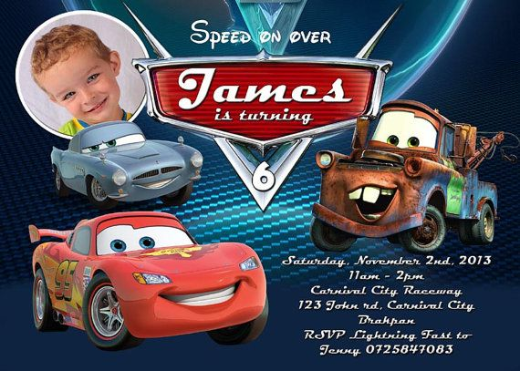 Cars Birthday Invitation, Disneyu0027s Cars, Lightning McQueen, Sally - birthday invitation model
