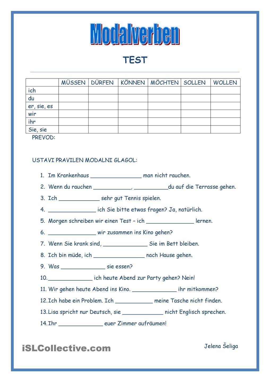 Modalverben - Test | Deutsch | Pinterest | German, German language ...