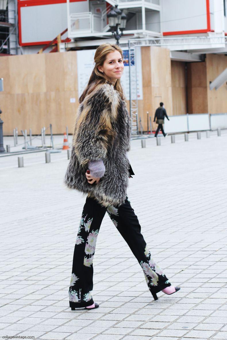 Fur & print pants