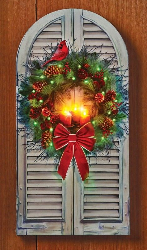 Led Fiber Optic Holiday Window Wreath Canvas This Charming Lighted Canvas Features A Gorgeous Evergre Indoor Christmas Decorations Window Wreath Wreath Decor