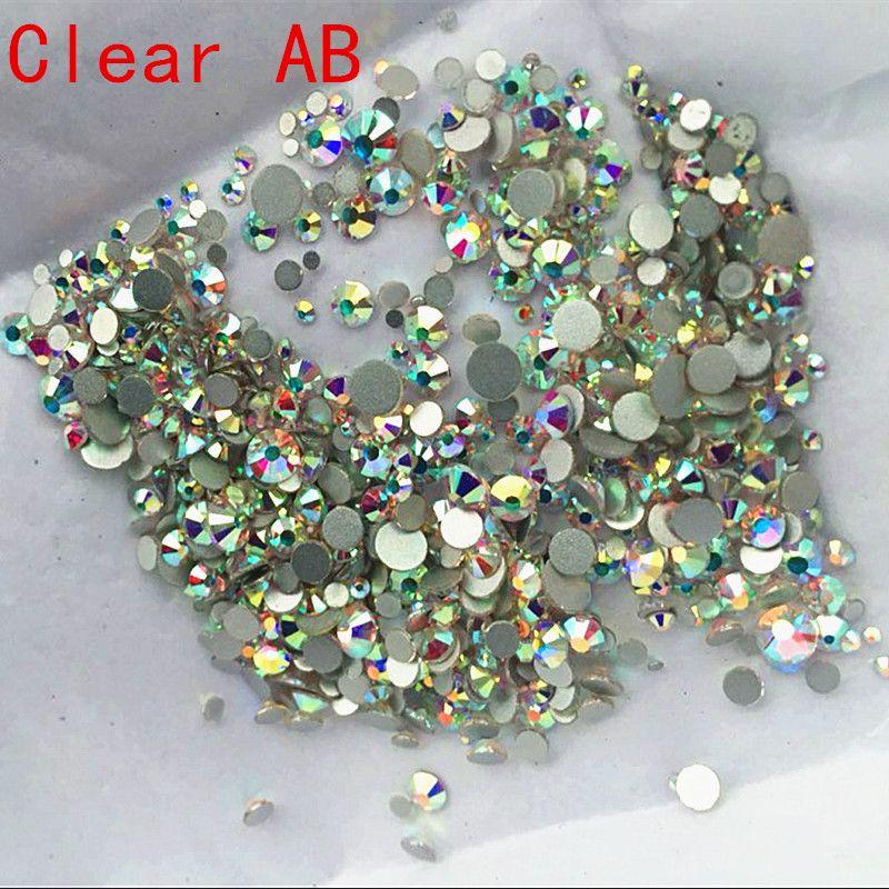 Super Glitter Rhinestones Crystal AB Mix Size DMC Non Hot Fix FlatB ...