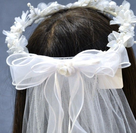 Wedding Hairstyles For Bows Buds Tiaras And More From: Girls First Communion Flower Crown Veil (With Images