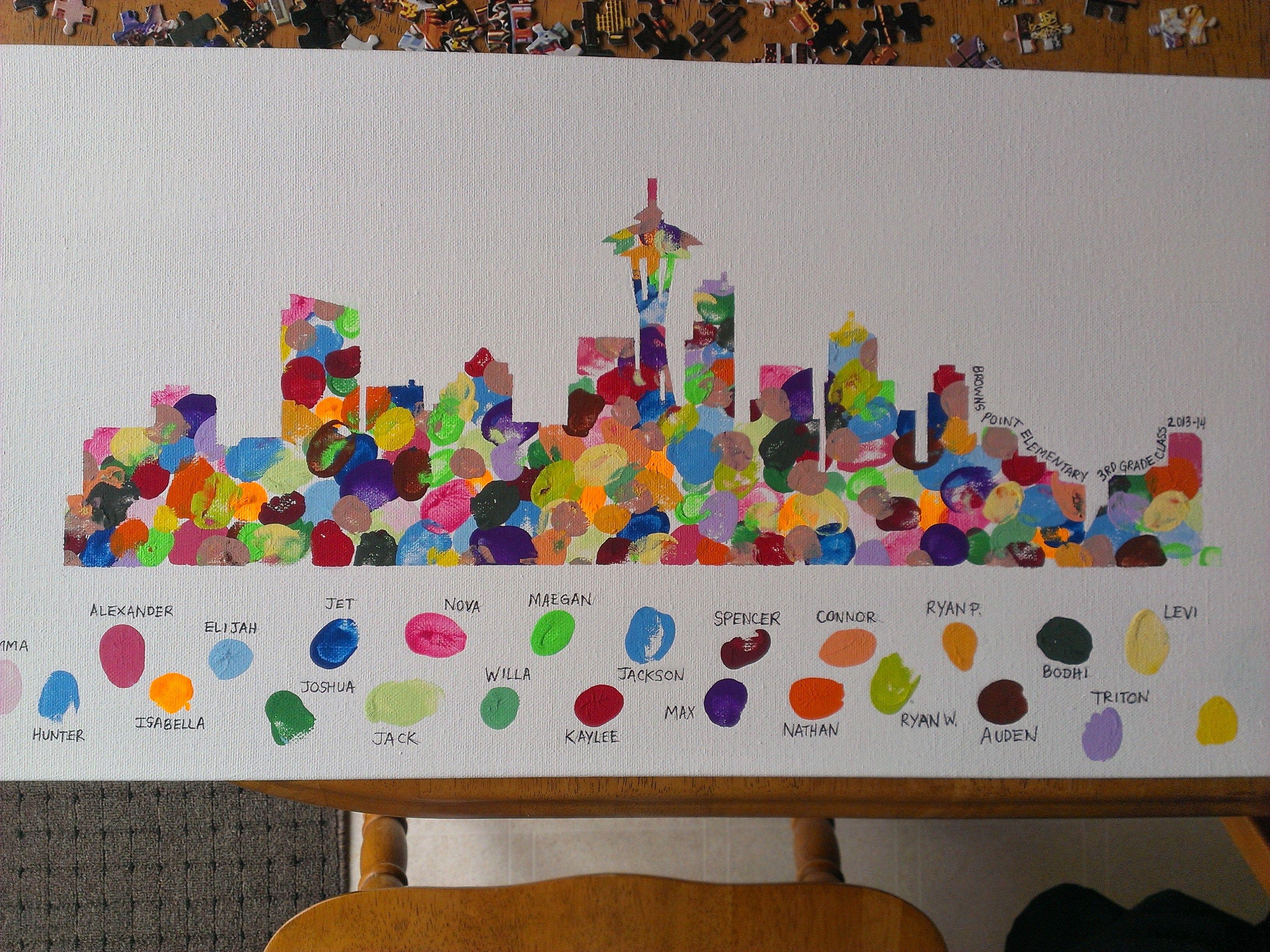 Seattle Skyline - Collaborative Class Art Project Student