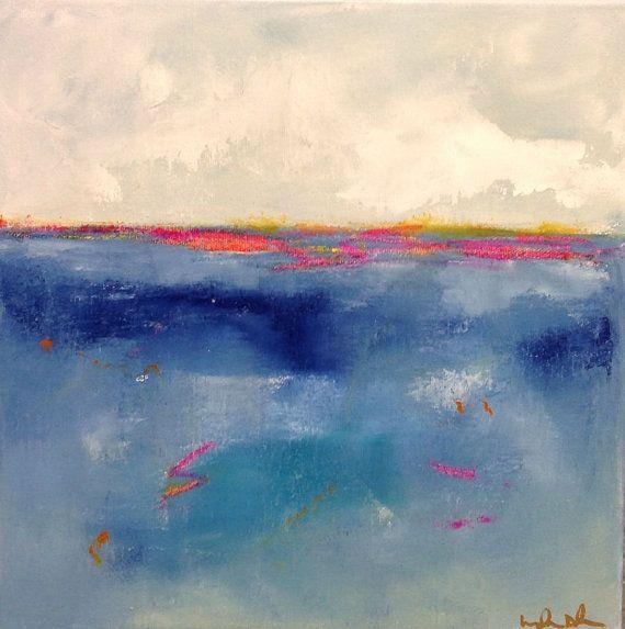 Colores azul marino Original abstracta pintura - océano azul 12 x 12