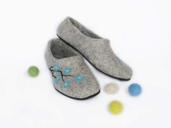 Photo of Felted wool home shoes: Natural organic house slippers for   Etsy