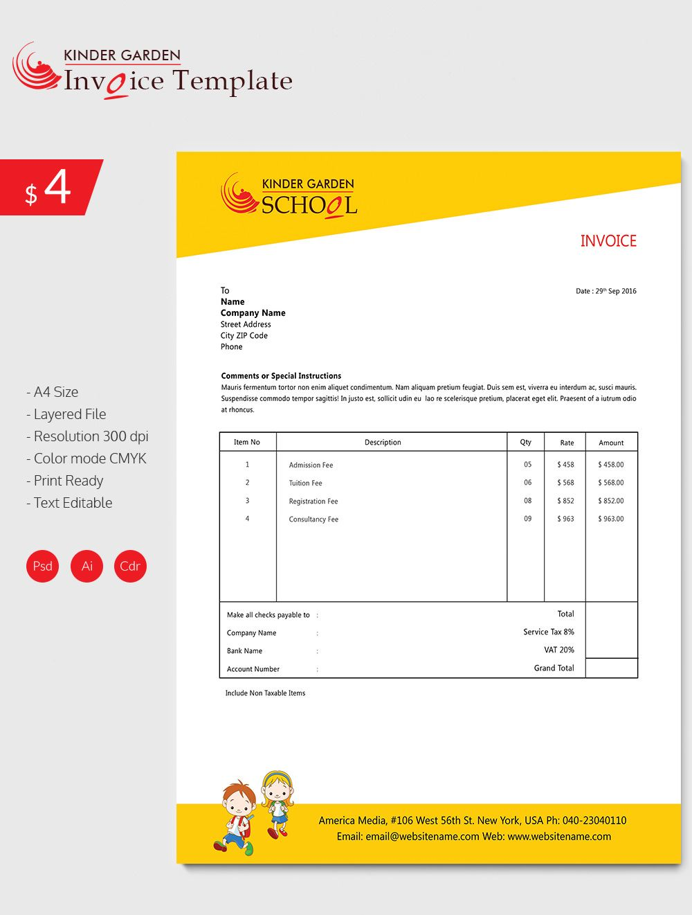 Enticing Kindergarten School Invoice Template  Invoice Template