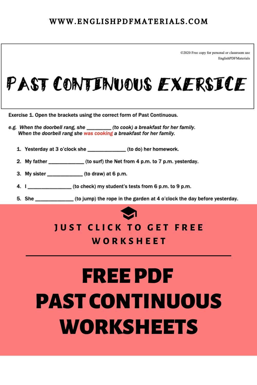 Past Continuous Worksheet Continuity Past Tense Past