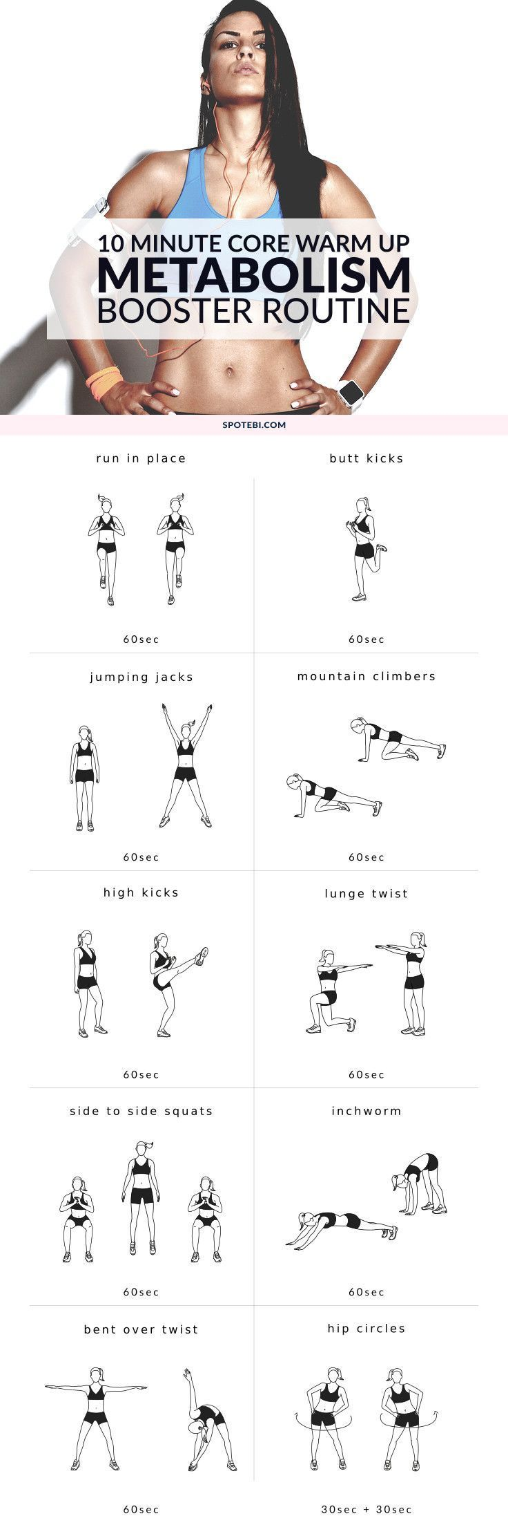 Warm up your abs and lower back with this bodyweight at home core warm up routine. Get your heart pumping and prepare your core for a strengthening workout.