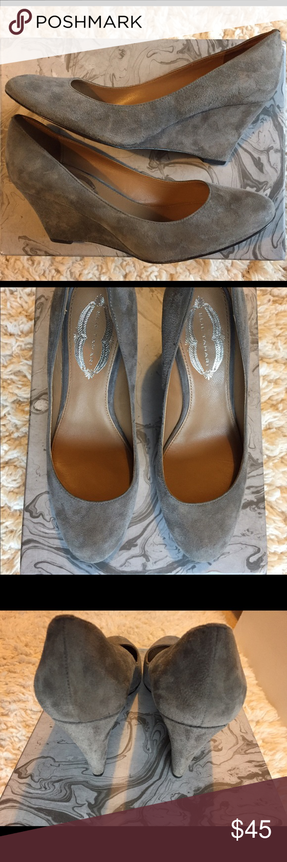 """Elie Tahari Gray Suede Wedges 38 These beautiful gray suede wedges from Elie Tahari show zero wear on suede and inside soles and very slight wear on the bottom soles.    -Bottom soles are leather with a large rubber pad for stability  -Genuine suede upper -Heel measures 3"""" -Lightly padded footbed    -European size 38 is US women's 8  These are in excellent shape. I try to represent the item well via pictures. Feel free to ask any questions! Elie Tahari Shoes Wedges"""