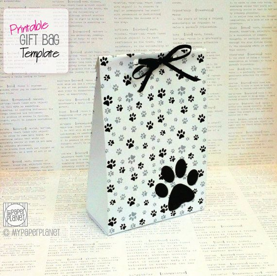Paw Prints Gift Bag Templatemake your own par MyPaperPlanetCrafts