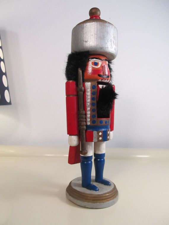 Vintage Old Hand Made Wooden Toy Soldier Nutcracker Nutcrackers