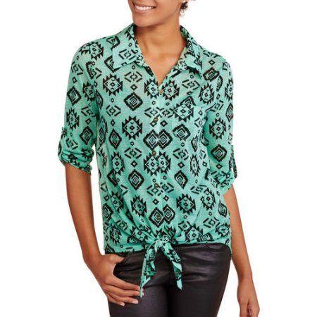 No Boundaries Juniors' Printed Shirt, Green