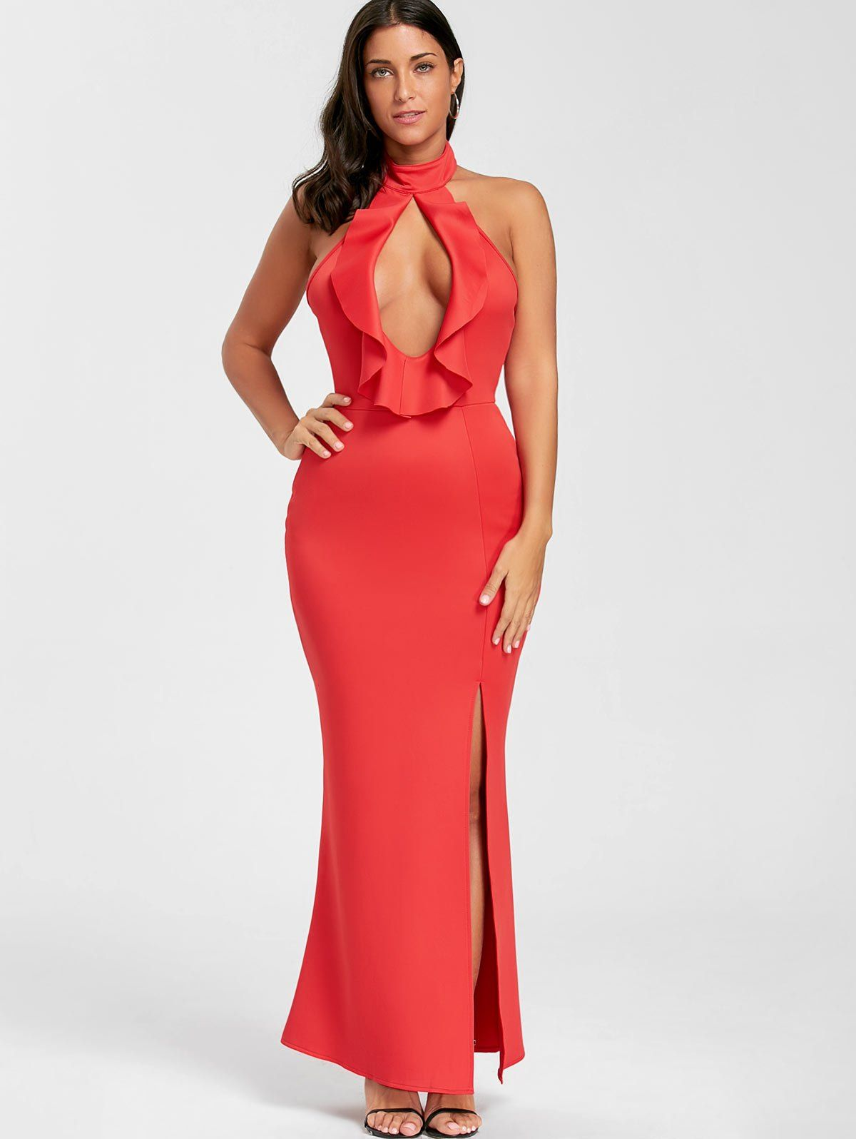 Ruffle cut out halter prom dress ruffles prom and maxi dresses