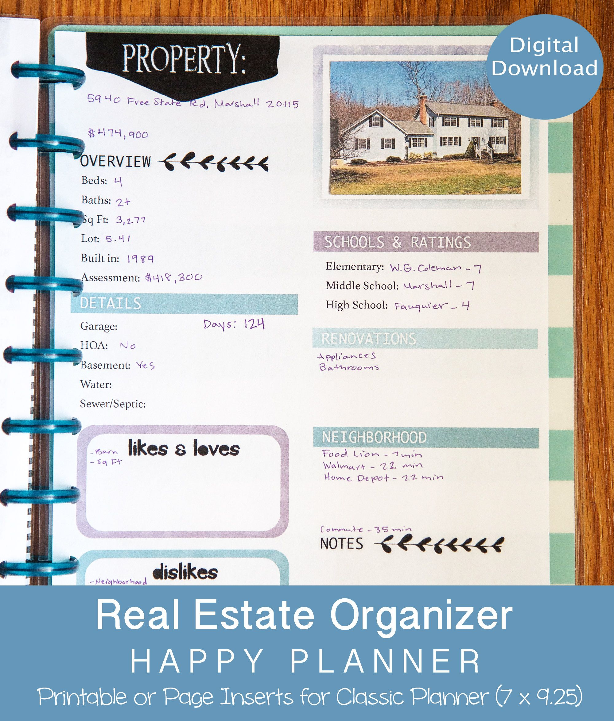 Real Estate Planner Real Estate Organizer Happy Planner