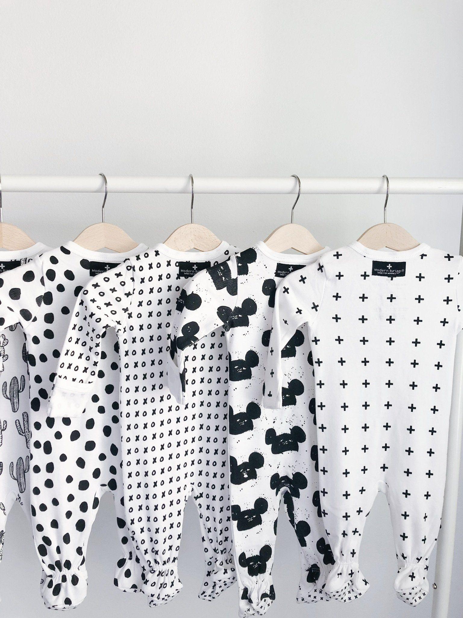 Organic Zip Footie - Prints  White baby clothes, Minimalist baby