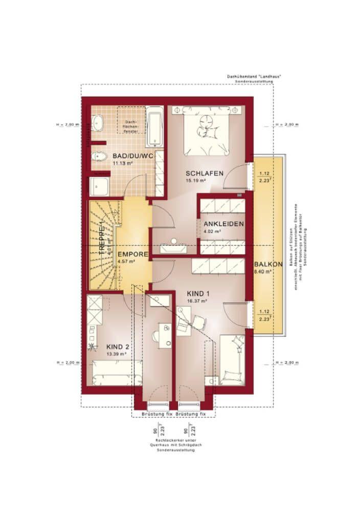 Doppelhaus Grundriss Obergeschoss mit Satteldach - Haus - grundriss küche mit kochinsel