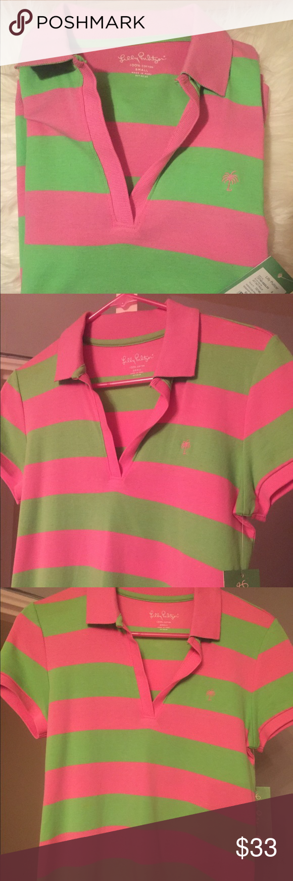NWT!!! Lilly Pulitzer polo shirt Awesome jet set polo in great colors, pink and green. Short sleeve collared v neck with brand logo embroidered on the front. Would look good paired with just about anything: shorts, denim, or even a skirt. Would make a great addition to your closet! Lilly Pulitzer Tops Tees - Short Sleeve