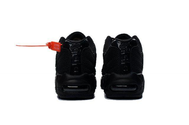 sale retailer d3e3b 16c2a Nike Air Max 95 KPU Triple Black Mens Athletic Sneakers