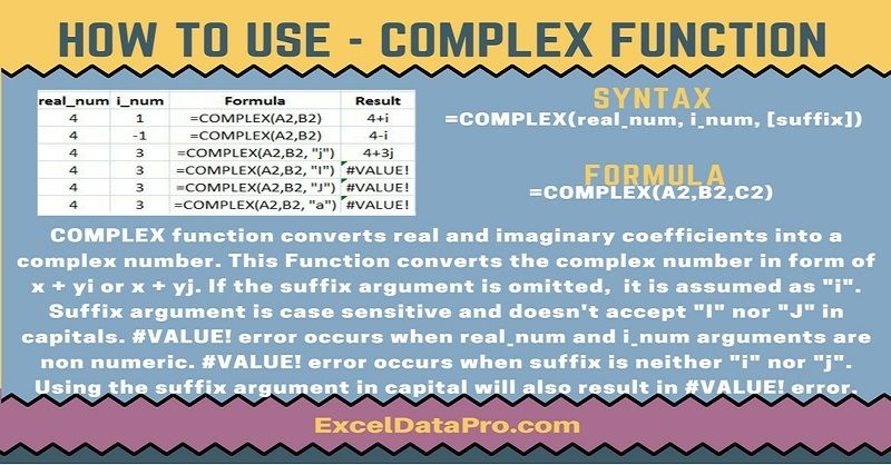 How To Use COMPLEX Function Microsoft Excel Functions Pinterest