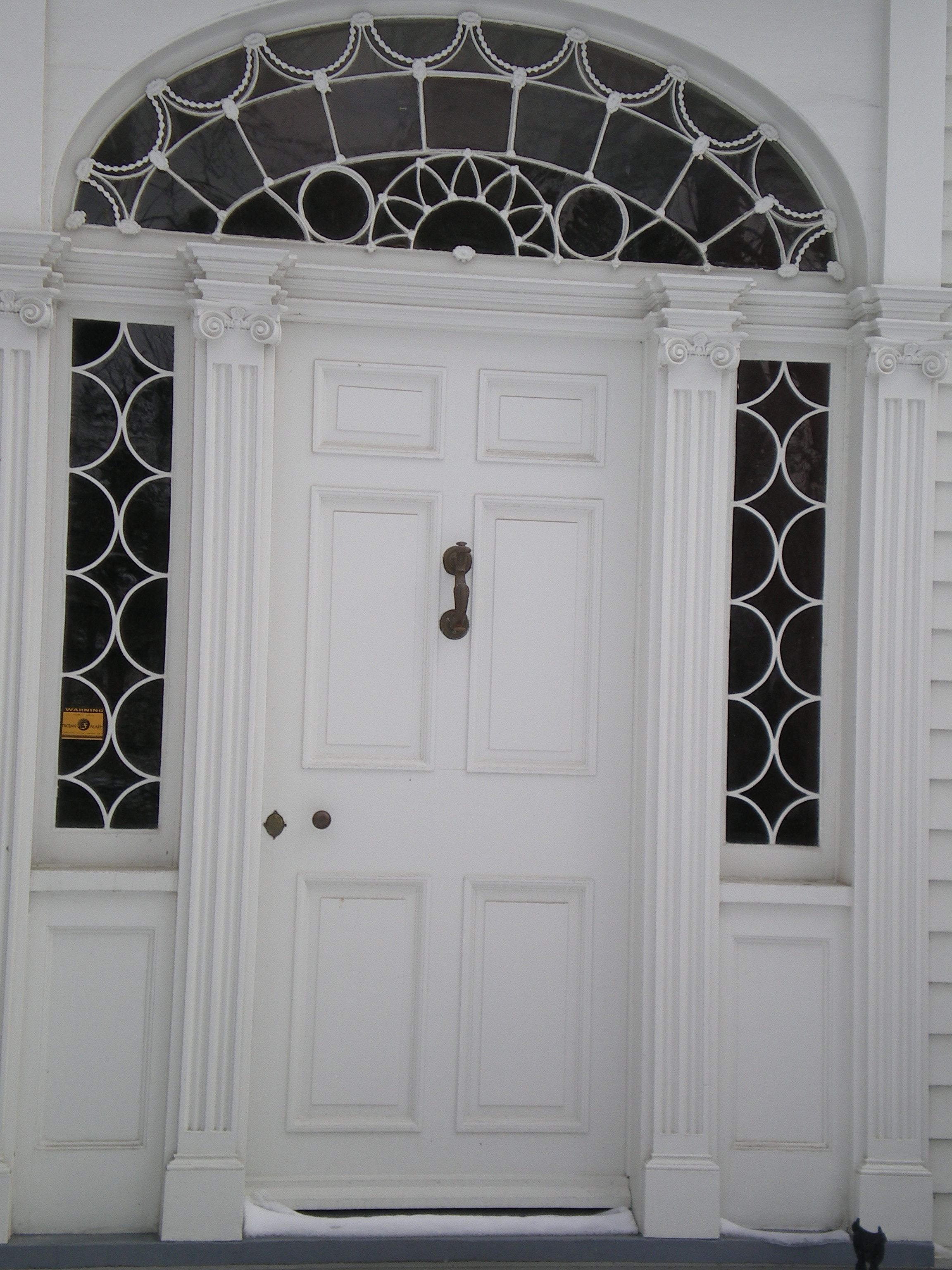 Front door fanlight neoclassical original 1816 leaded glass glass door glass front door