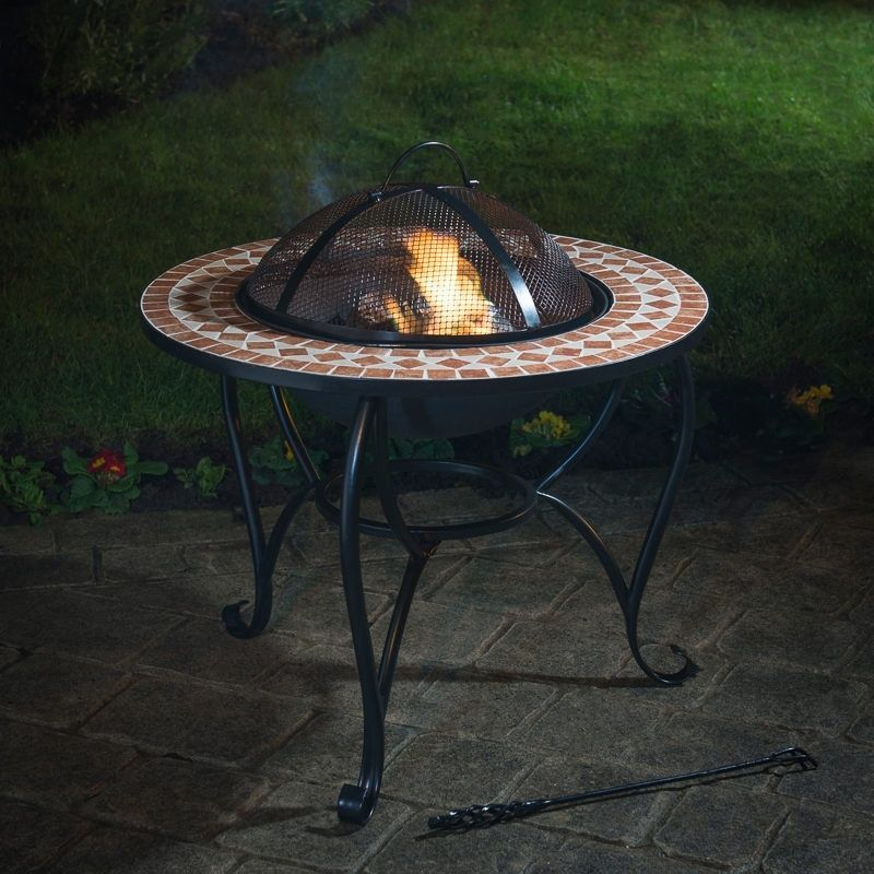 Garden Fire Pit Heater Outdoor BBQ Party Patio Firepit Barbecue Grate Mosaic NEW