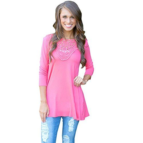 Blooming Jelly Women's Vintage Crochet Lace Blouse Tops Embroidery Shirt >>> You can get additional details at the image link.