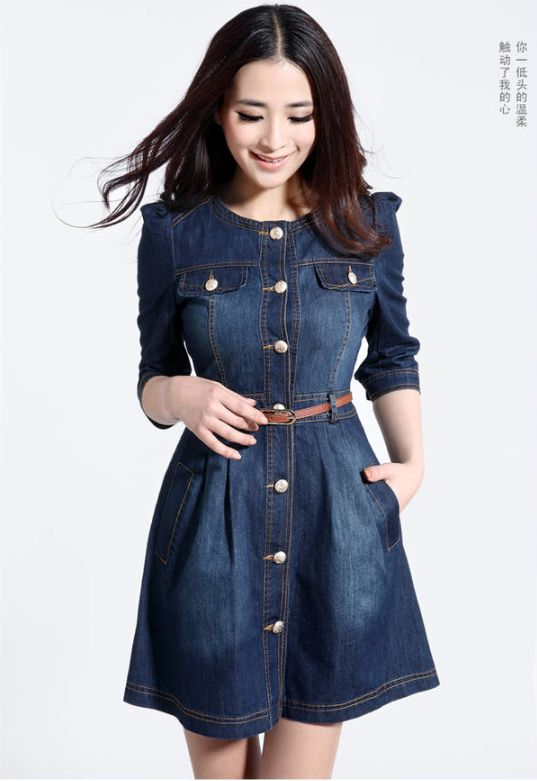 71bdf4cebdc 2014 New Vintage Fashion Lace Neck Ladies' Jeans Casual Dresses Denim Dress  NY60 | eBay