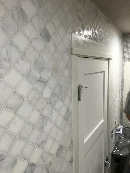 Arabesque 3 Lanterns Mosaic Marble Tile Bathroom Renovation