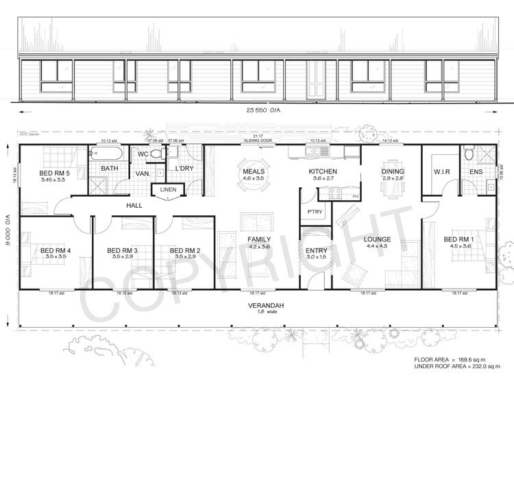 5 bedroom floor plans | Daintree 5 - Met-Kit Homes - 5 Bedroom Steel ...