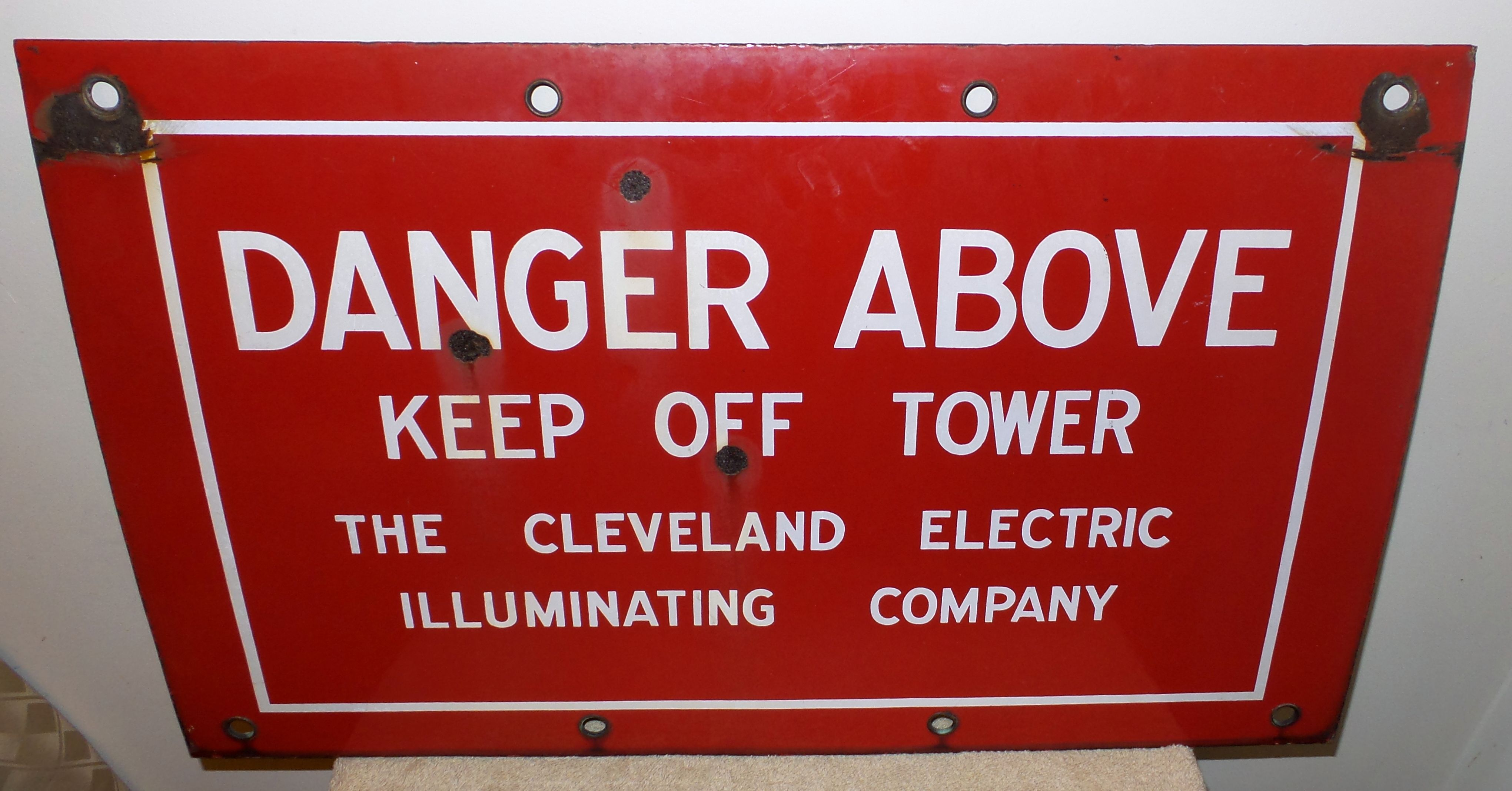 Vintage Porcelain Cleveland Electric Illuminating . Sign