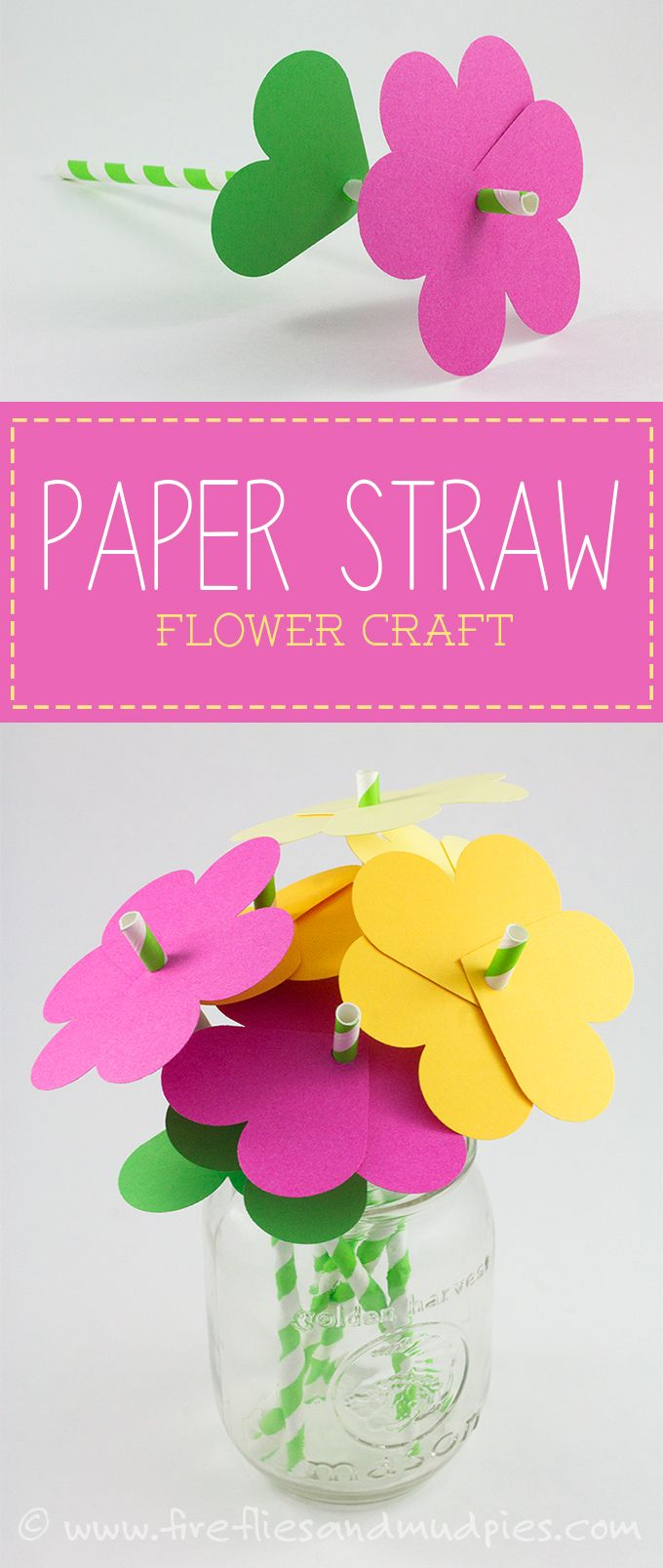 How to make simple paper heart flowers craft ideas pinterest paper straw flower craft perfect for spring fireflies and mud pies mightylinksfo