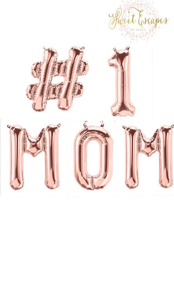 1 Mom Rose Gold Balloons Happy Mothers Day Best Moms Birthday Custom Letter 16 Inch Air Fill Only