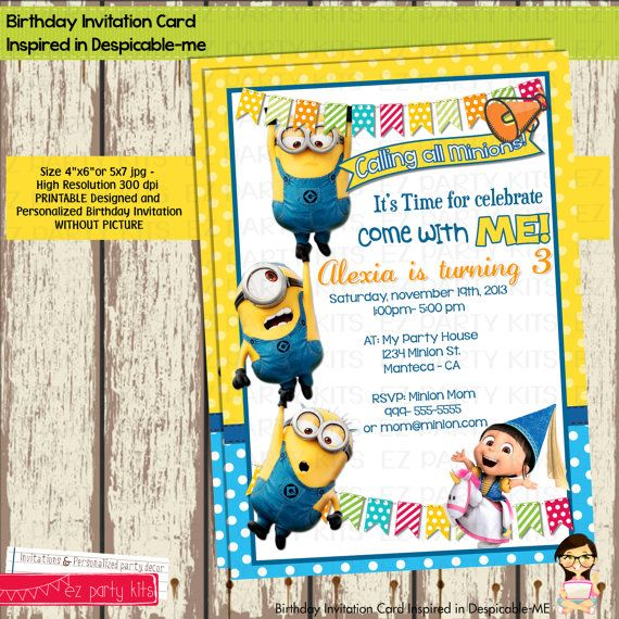 DESPICABLE ME Printable Birthday Invitation Card Digital File