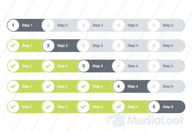 Flat Progress Tracker Timeline Design Progress Web Design Tips