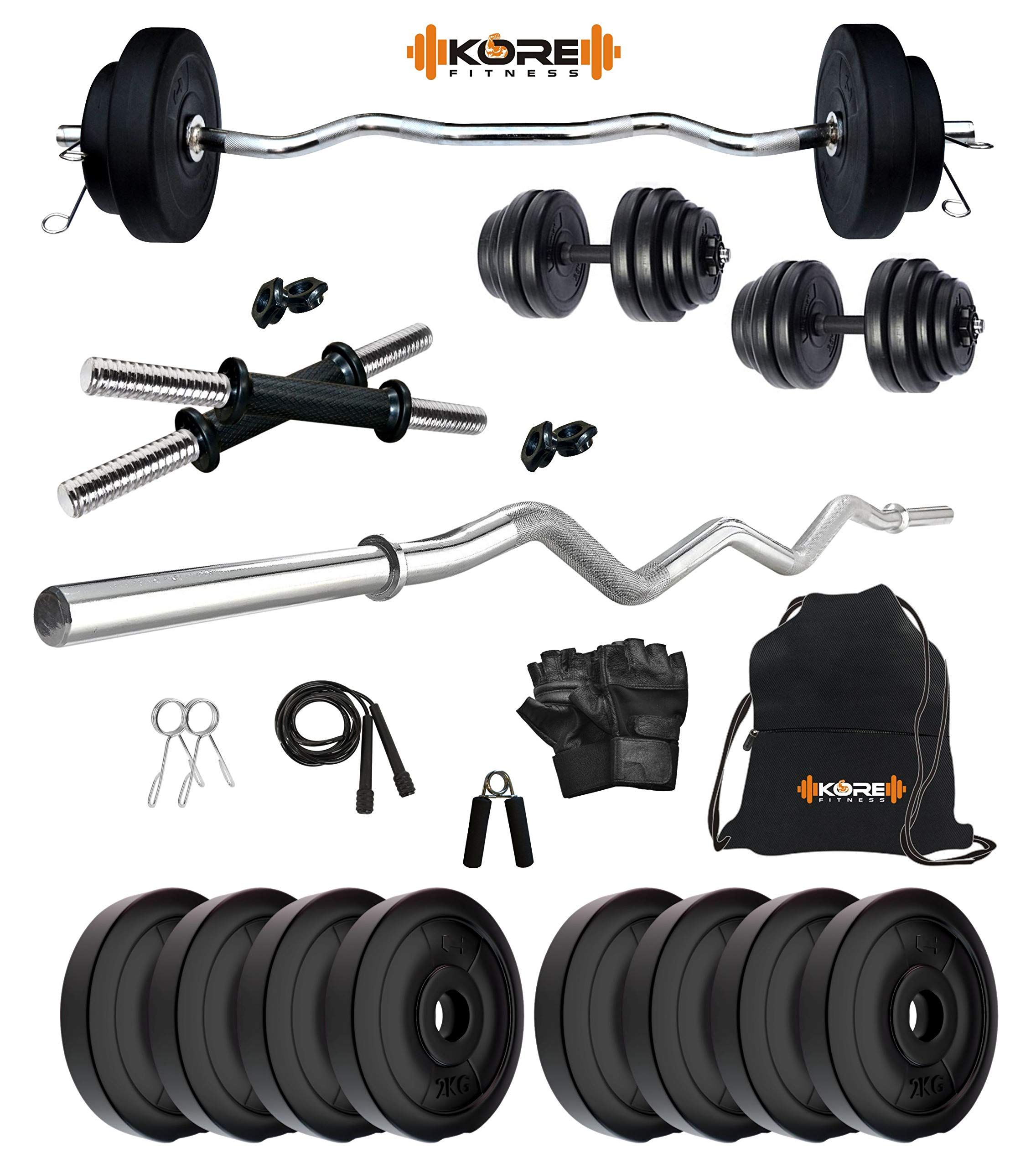Buy kore pvc 16 kg home gym set with one 3 ft curl and one