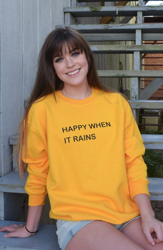 Happy When it Rains Tumblr Saying Fall Sweater- In Yellow and Navy ...