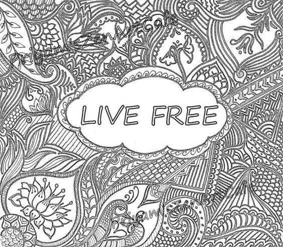 live free coloring page printable color book zentangle