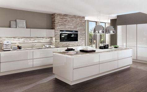 cucine-con-isola-centrale-colore-bianco-design-moderno | Idee per la ...