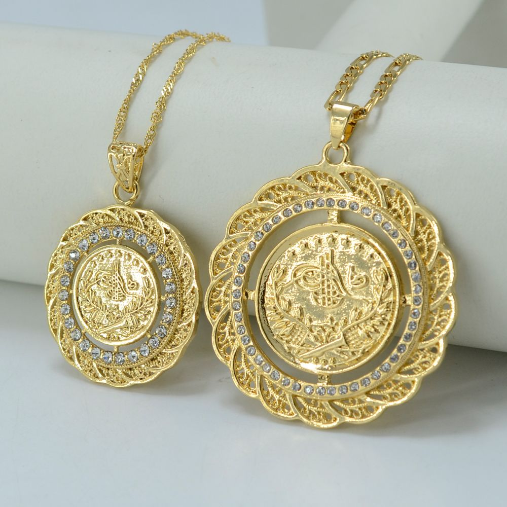 TWO SIZE Turks Pendant Necklace Arab Coin for Women Gold Plated