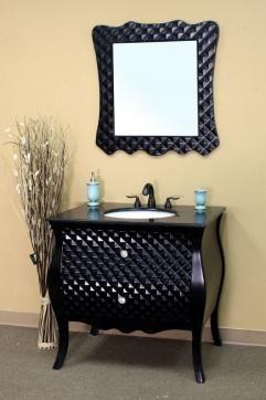 36 Inch Unique Black Single Sink Bath Vanity With Granite Black