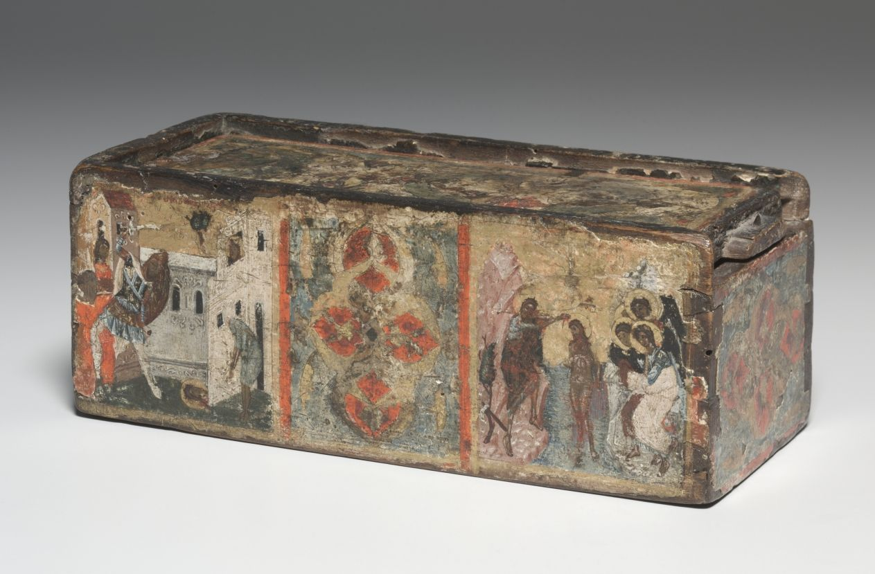 Reliquary Box with Scenes from the Life of John the Baptist, 1300s Byzantium, Constantinople, late Byzantine period, 14th century tempera and gold on wood, Overall - h:9.00 w:23.50 d:9.00 cm (h:3 1/2 w:9 1/4 d:3 1/2 inches). Gift of Bruce Ferrini in memory of Robert P. Bergman 1999.229
