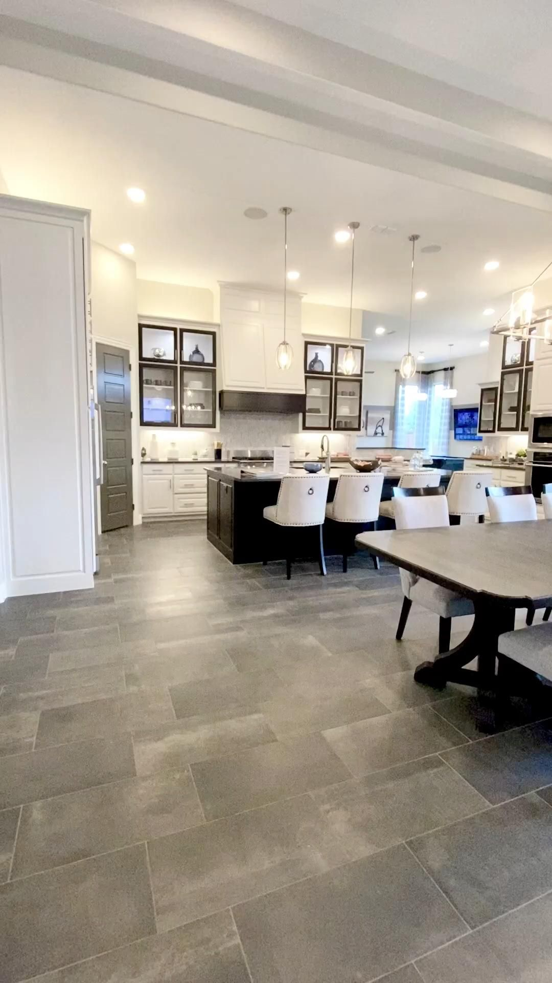 Open concept kitchen, dining & living room