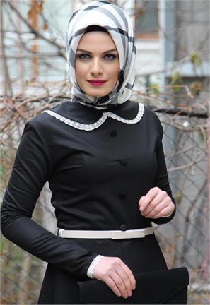 Aysima Yaka ve Kol Dantel Tesettür Elbise-Siyah-5718