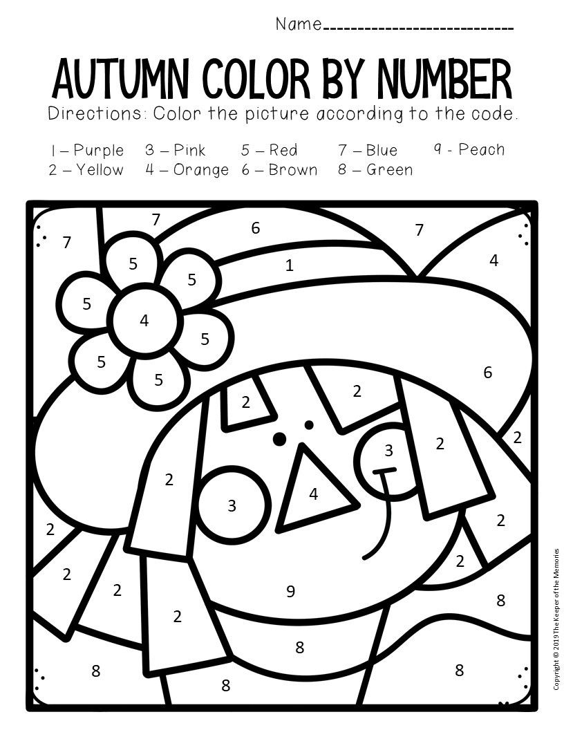 Fall Color By Numbers Worksheets Fall Worksheets Fall Colors Color By Numbers
