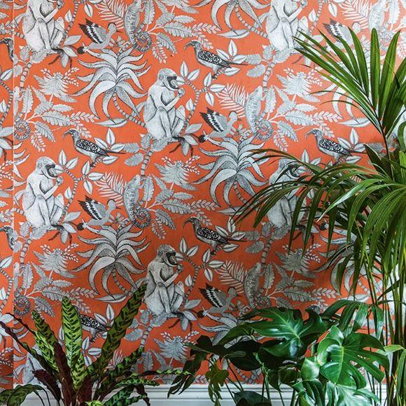 papier peint savuti papier peint exotique orange gris et les singes. Black Bedroom Furniture Sets. Home Design Ideas