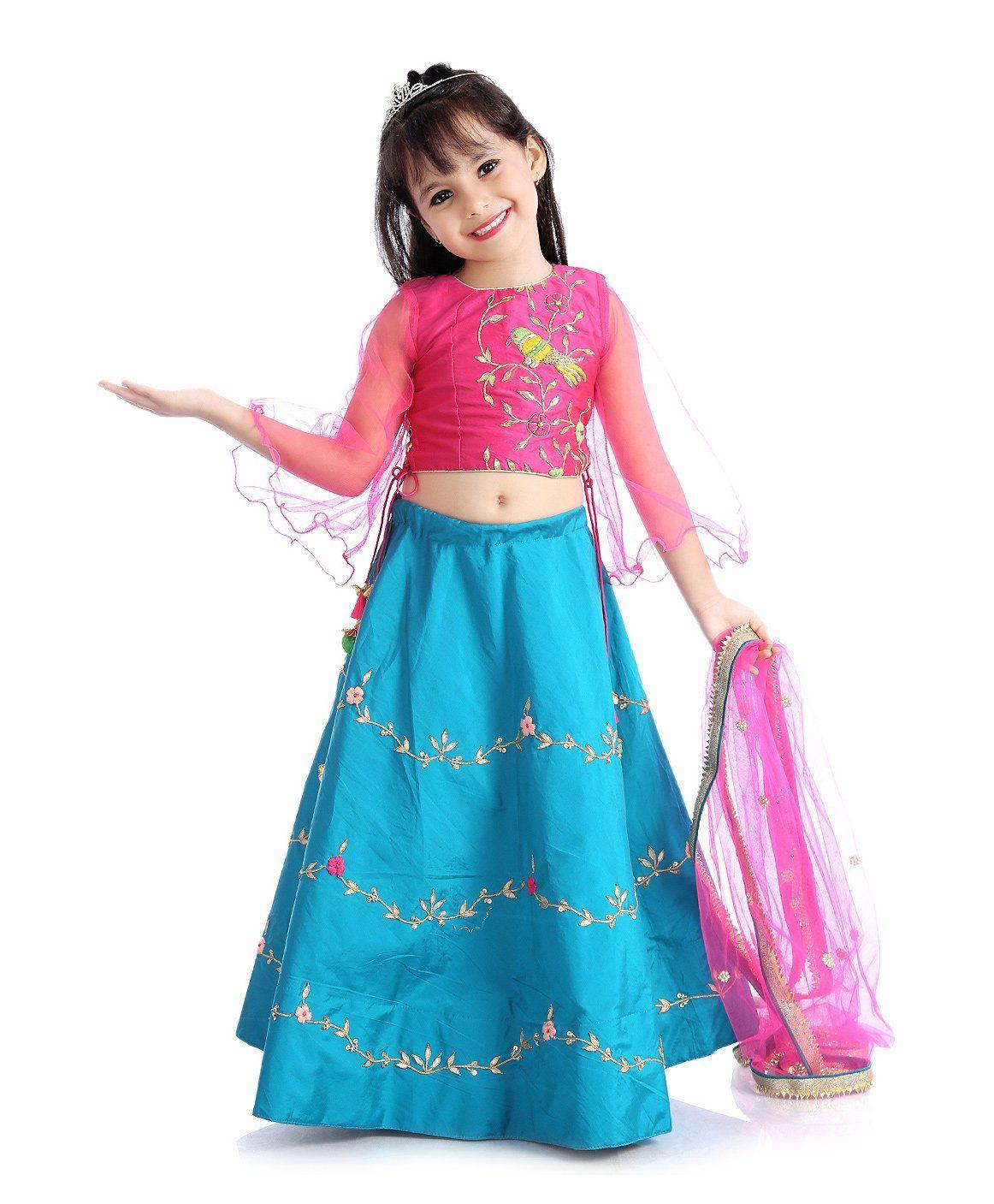 62dd778ff Buy Little Pockets Store Designer Lehenga Choli Set Blue for Girls (4-5  Years