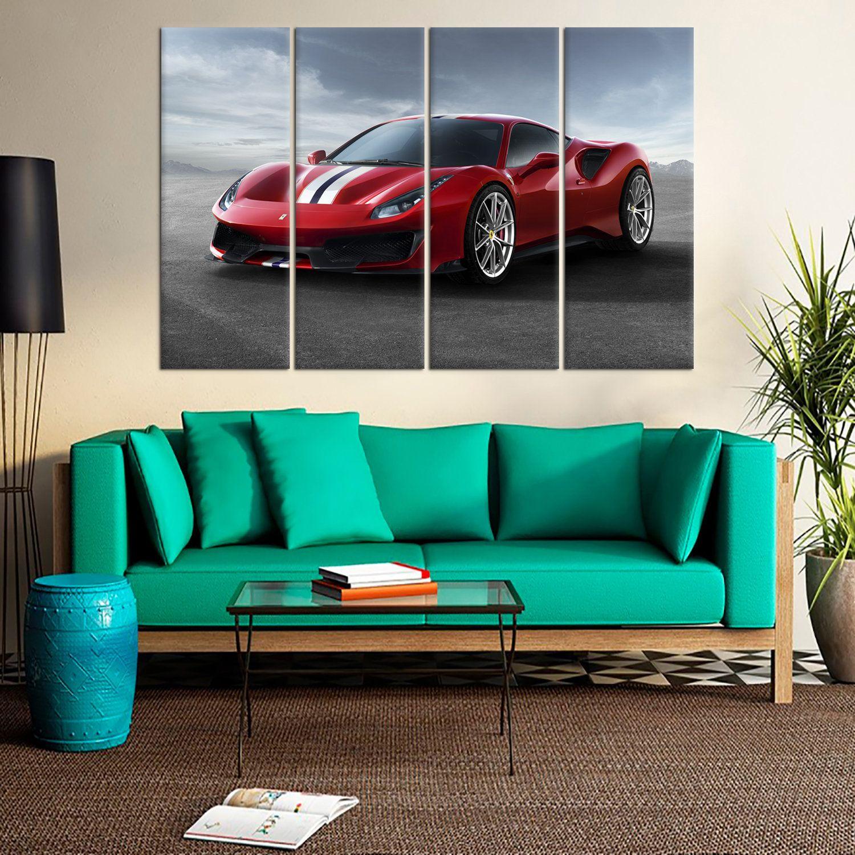 Red Ferrari 488 Pista Wall Art Decor Red Sports Car Large Etsy Wall Art Decor Red Sports Car Modular Picture