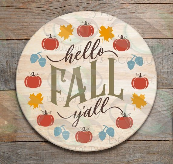 Hello Fall Y'all wreath svg cut file and png, Fall svg sign design, Fall svg Autumn svg for cutting #hellofall
